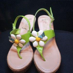 Miss Trish Wedge Sandals Size 6.5
